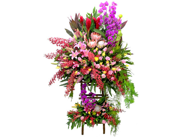 Flower Basket Stand - The bright Garden Opening Flower Baskets B3 - L106581 Photo