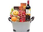 Fruit Basket - Godiva chocolate wine fruit basket  - L76601522