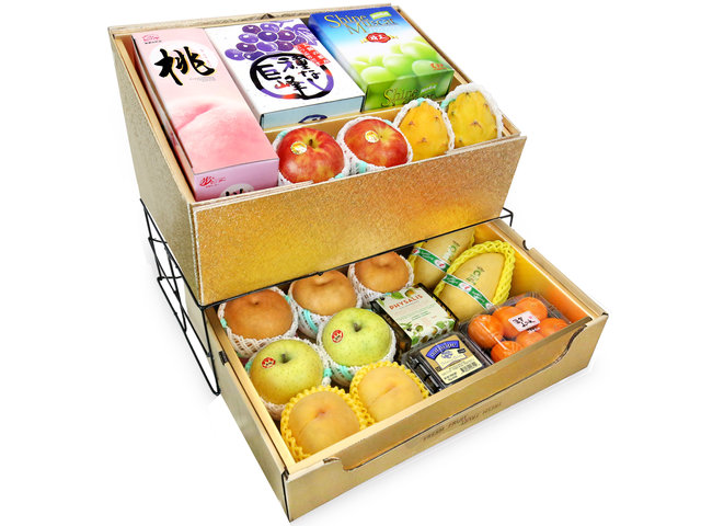 Fruit Basket - Mid Autumn Double Deck Fruits Gift Tower D16 - 0DB0618C8 Photo
