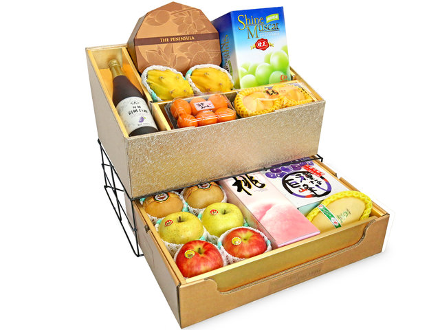 Fruit Basket - Mid Autumn Double Deck Peninsula Moon Cake Fruits Gift Tower D14 - 0DP0719G3 Photo
