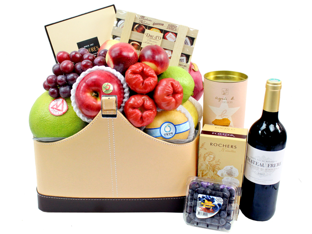 Fruit Basket - Wine Food Gift Hamper C24 - L3105895 Photo