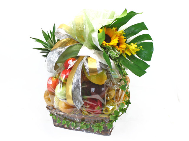 Fruit Basket - XL Fruit hamper and flower - L38408 Photo
