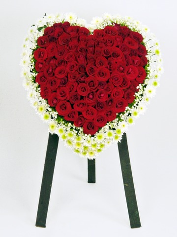 Funeral Flower - Full Closed Heart Stand - P1645 Photo