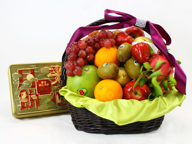 Mid-Autumn Gift Hamper - (11) Mid-Autumn Maxim Moon Cake Fruit Gift Basket - L11440 Photo