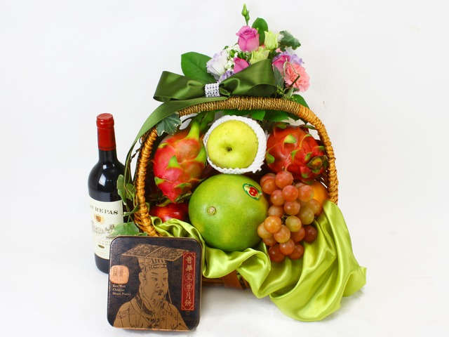 Mid-Autumn Gift Hamper - A) Mid-Autumnl Moon Cake Fruit Gift Basket - L11071 Photo