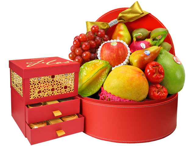 Mid-Autumn Gift Hamper - Cookies Quartet Mooncake fruit hamper A2 - 0S0827A2 Photo