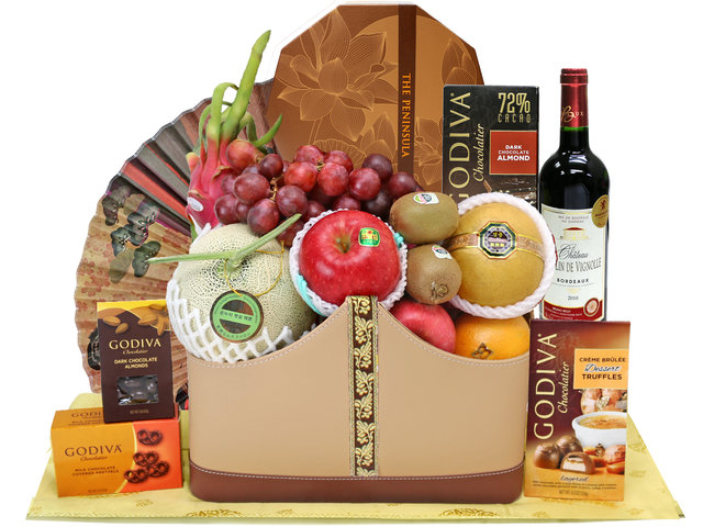 Mid-Autumn Gift Hamper - Godiva Mid autumn moon cake fruit basket M41 - L76607524 Photo