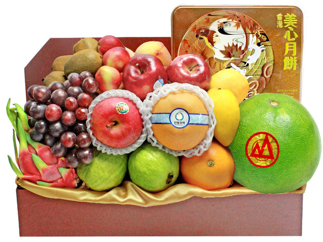 Mid-Autumn Gift Hamper - Maxim Moon Cake Fruit Gift Basket M33 - L140381 Photo