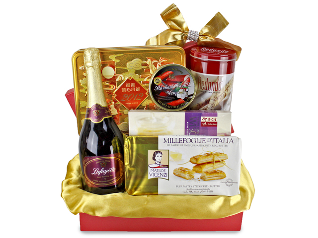 Mid-Autumn Gift Hamper - Mid-Autumn Maxim Moon Cake Fruit Gift Basket H4 - L89589 Photo