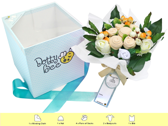 New Born Baby Gift - Dotty Bee  Baby Gift Bouquet - L36670770 Photo