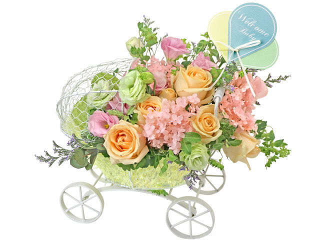 New Born Baby Gift - French florist arrangement A21 - L76606488 Photo