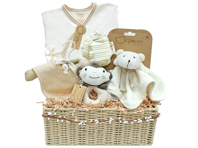 New Born Baby Gift - Natural Charm Organic Cotton Baby Gift hamper - L36668084 Photo