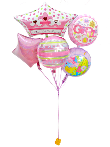 New Born Baby Gift - New Born Baby girl helium balloon X5 - L0154647s Photo
