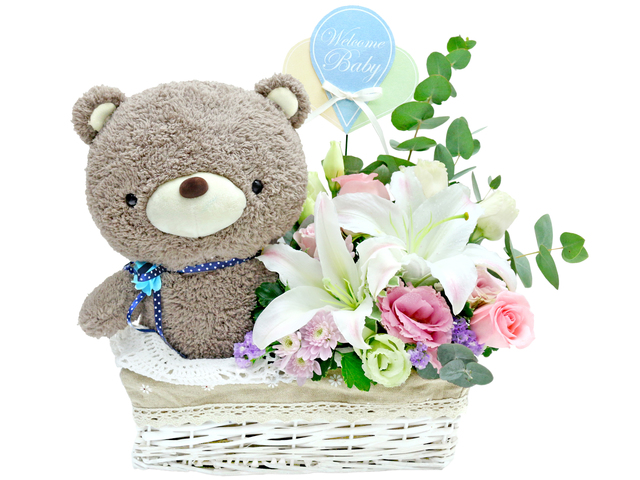 New Born Baby Gift - new born baby flower gift basket - L36668822 Photo