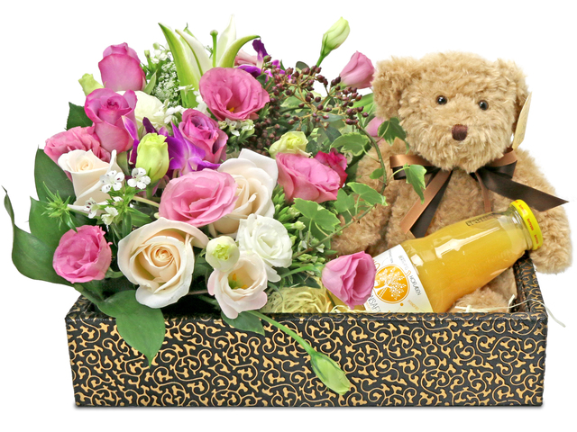 Order Flowers in Box - Bear Gift with florist A22 - L76607111 Photo