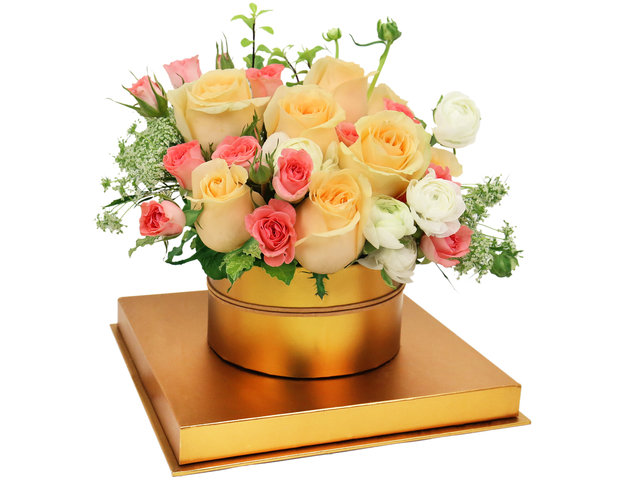Order Flowers in Box - Elegant Champagne Roses Flower Box - BX0513A5 Photo