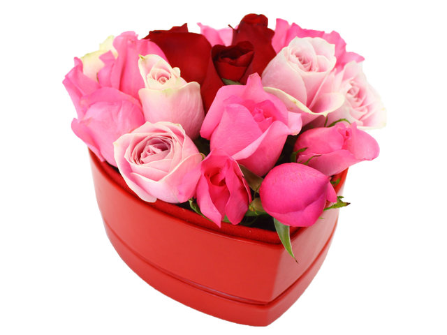 Order Flowers in Box - Multi-color Heart Box - L27147 Photo