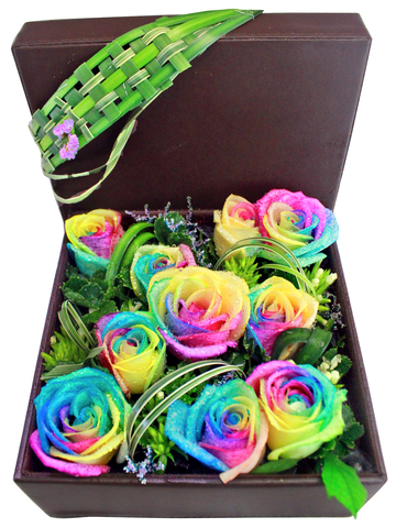 Order Flowers in Box - Rainbow Rose Box Flower  - L145676 Photo