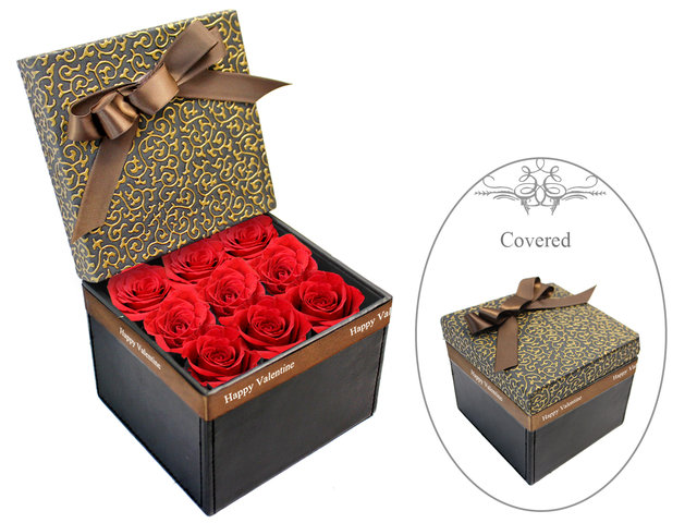 Order Flowers in Box - Valentine's box - 9 red roses - VB20210A1 Photo
