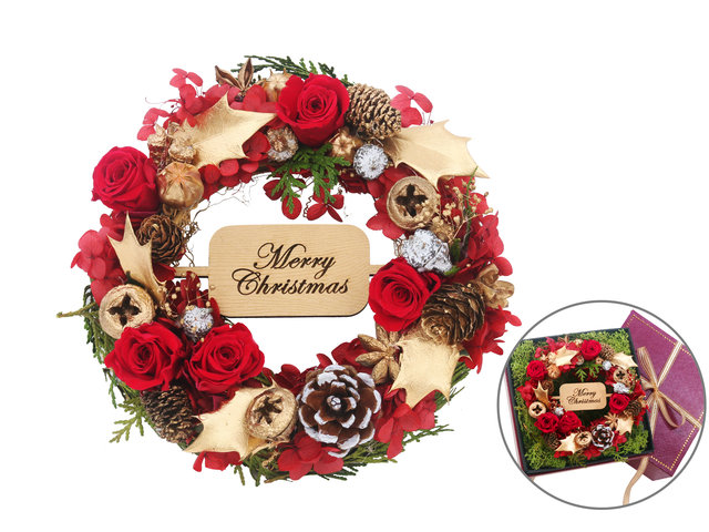 Preserved Forever Flower - Christmas Preserved Flower Wreath Gift Box M37 - L44000039 Photo