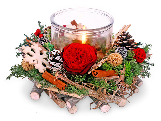 Preserved Forever Flower - Christmas preserved flower wreath candleholder M60 - PR1108A2 Photo
