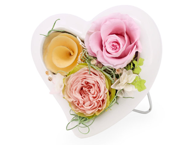 Preserved Forever Flower - Heart shape preserved flower decoration M62 - PR0103A2 Photo