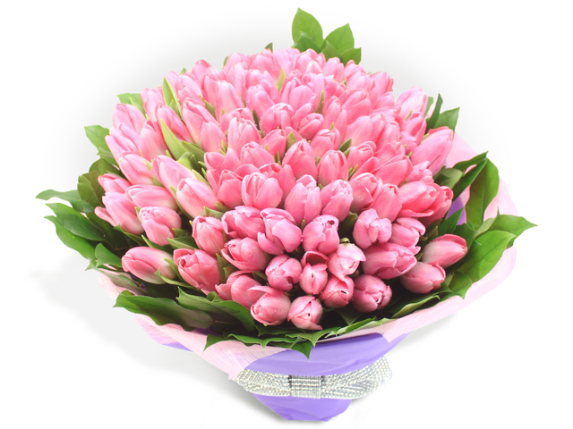 Second Version - 99  Pink Tulips Bouquet - L60693 Photo