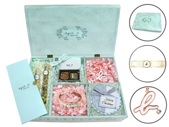 Valentines Day Flower n Gift - Agnes b. accessory Hamper V2 - L36669702v Photo