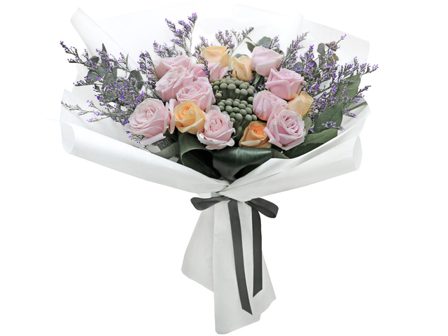 Valentines Day Flower n Gift - Valentine's Pink rose florist bouquet  RD36 - L76604602b Photo