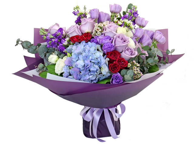 Valentines Day Flower n Gift - Valentine's Purple rose florist gift PL07 - BV2S0123A7 Photo