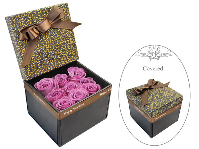 Valentines Day Flower n Gift - Valentine's box - 9 purple roses - L178612A Photo