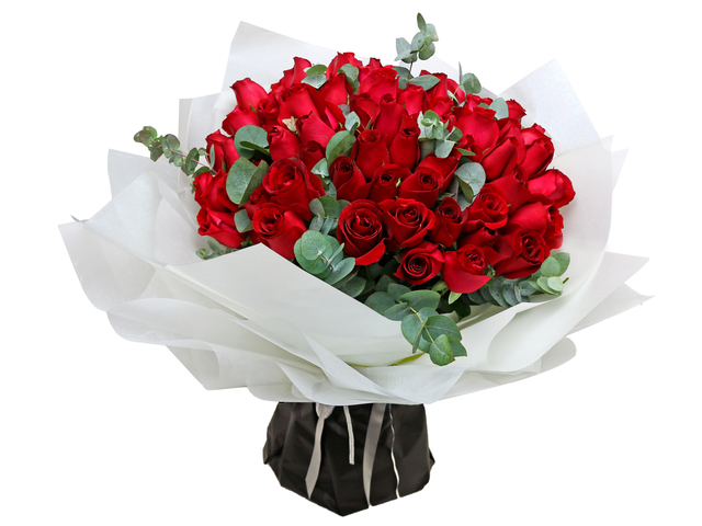 Valentines Day Flower n Gift - Valentines Bouquet of 99 red roses  RD18 - L766043172d Photo