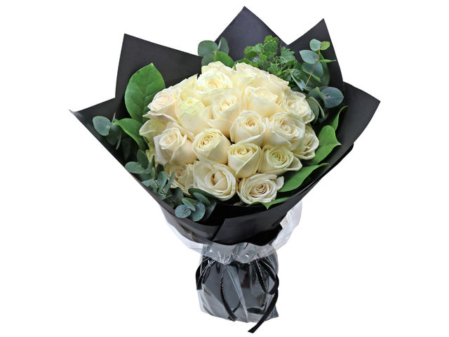 Valentines Day Flower n Gift - White rose florist bouquet RD24 - L76604502d Photo