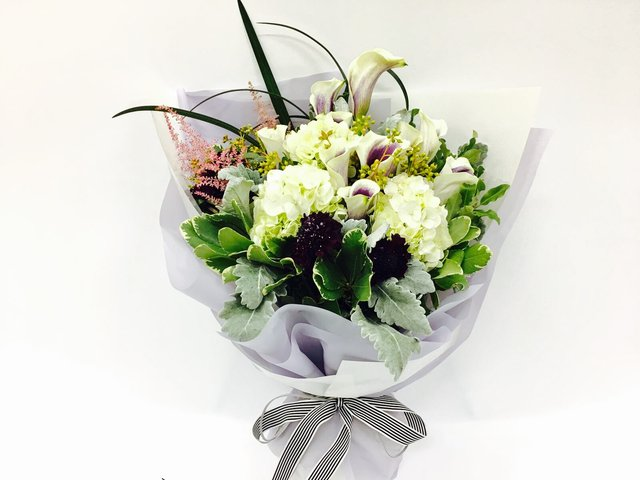 Weekly Import Flower - Limited edition - Purple White Calla Lilies Bouquet LEB02 - 1BB0308A2 Photo