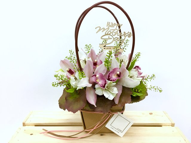 Weekly Import Flower - Mother's Day - Pink Cymbidium Basket LED05 - 1BB0504A1 Photo