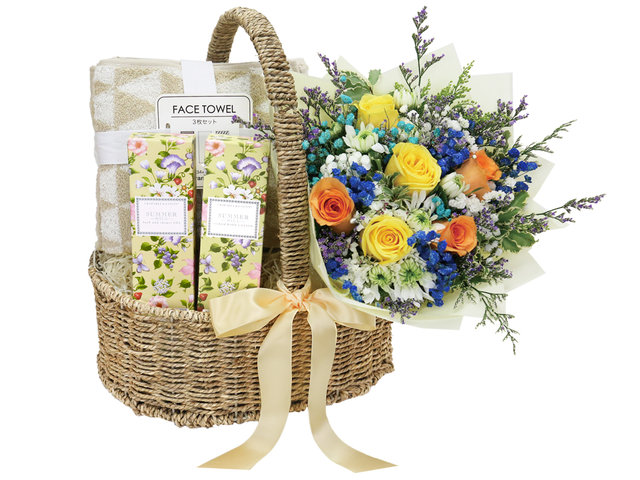 Wine n Food Hamper - Crabtree and Evelyn Skincare and Spa Set with Flower Bouquet - SE0324A2 Photo