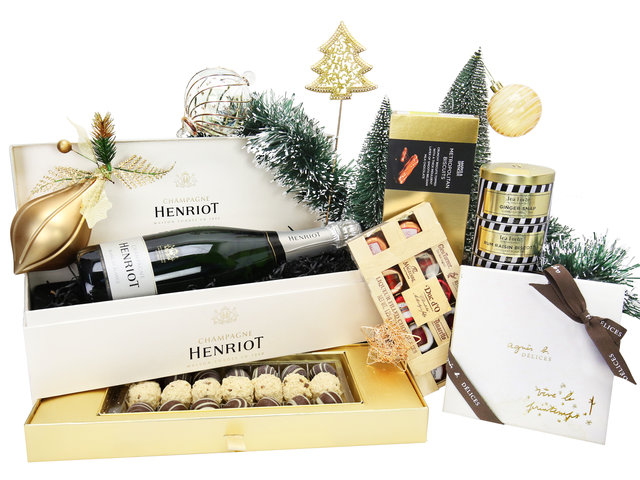 Wine n Food Hamper - Henriot Champagne Classical Royal Warrant Christmas Gift Box A1 - XH1023A2 Photo
