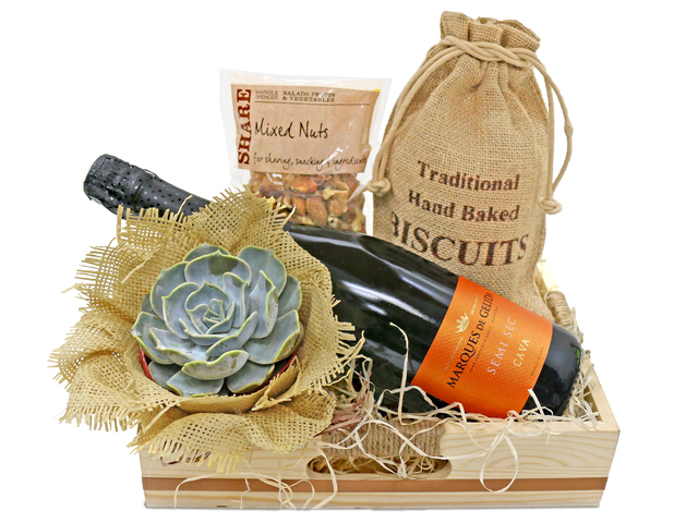 Wine n Food Hamper - Small potted gift A1 - L36669926 Photo