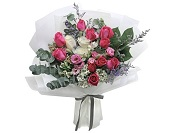 HK Flower Shop France Style Hot Pink Rose Florist Gift