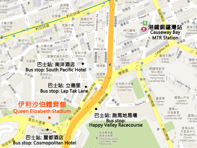 Queen Elizabeth Stadium Map